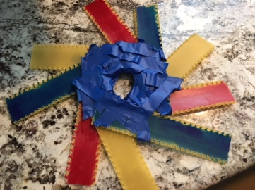 Blue tape around the middle of the wreath. Photo by Cecilia Kennedy