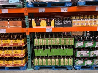Aisles of giant liquor bottles at Costco. Photo by Cecilia Kennedy